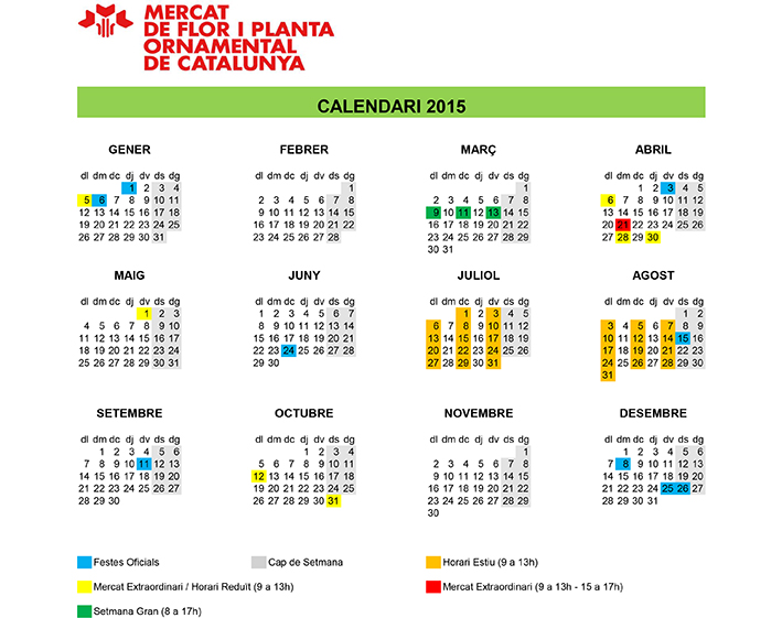 Calendari 2015 mercats i venda
