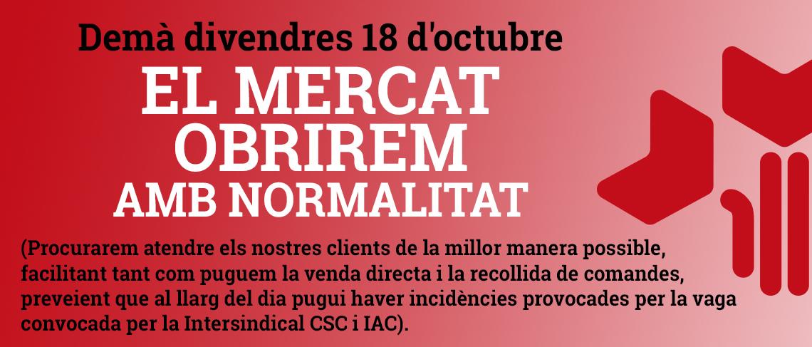 El Mercat obrim el 18 d'octubre